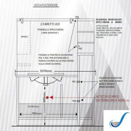 COMPOSIZIONE MOBILE BAGNO BEATRICE 107 CON COLONNA LAVABO E SPECCHIERA misure