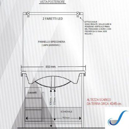 COMPOSIZIONE MOBILE BAGNO CHIARA 2 85 BASE 2 ANTE CASSETTI LAVABO E SPECCHIERA misure