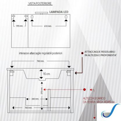 COMPOSIZIONE MOBILE BAGNO GAIA 85 CM SOSPESA BASE 2 ANTE 2 CASSETTI LAVABO E SPECCHIO misure