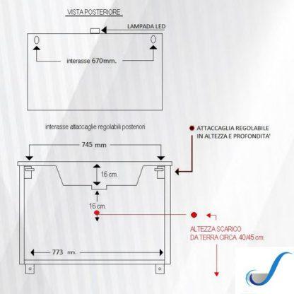COMPOSIZIONE MOBILE BAGNO CLAUDIA 85 CM SOSPESA BASE 2 ANTE 2 CASSETTI LAVABO E SPECCHIO misure
