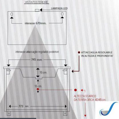 COMPOSIZIONE MOBILE BAGNO VALERIA 85 CM SOSPESA BASE 2 ANTE 2 CASSONI LAVABO E SPECCHIO misure