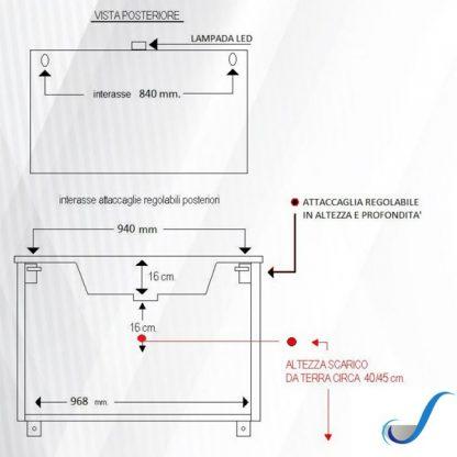 COMPOSIZIONE MOBILE BAGNO CLAUDIA 105 CM SOSPESA BASE 2 ANTE 2 CASSETTI LAVABO E SPECCHIO misure