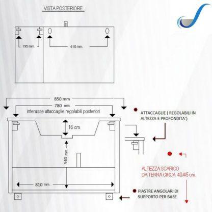 COMPOSIZIONE MOBILE BAGNO MARTA 85 CM SOSPESA BASE 2 CASSONI LAVABO E SPECCHIO misure