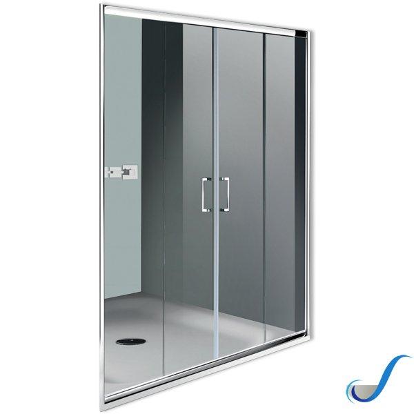 Porta Scorrevole A 2 Ante.Porta Doccia 2 Ante Scorrevoli E 2 Fisse Vetro 6 Mm In Alluminio
