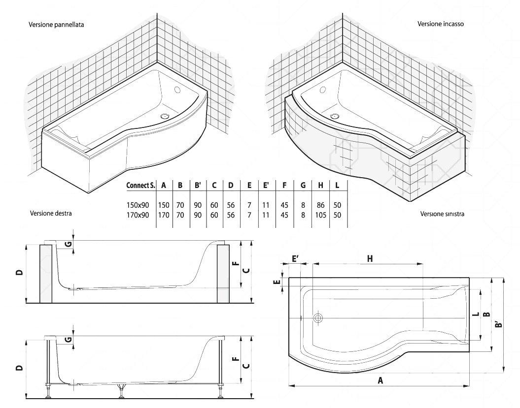 Vasca Da Bagno Asimmetrica In Acrilico Serie Connect Ideal Standard Solo Guscio Solimando Forniture