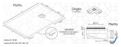PIATTO DOCCIA ULTRAFLAT COLORE CEMENTO H. 2,8 IDEAL STAR -1